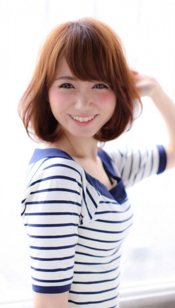 ナチュラル可愛いボブ~斜めバング&小顔カット(TT-29)